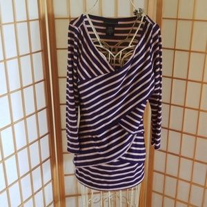Attention Blue and Pink Striped Long Sleeve Top